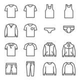 Διανυσματικό σύνολο εικονιδίων γραμμών ενδυμάτων Περιέχει τέτοια εικονίδια όπως το εσώρουχο, την μπλούζα, το παλτό, το σακάκι, τα απεικόνιση αποθεμάτων