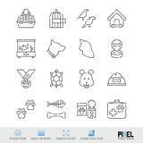 Διανυσματικό σύνολο εικονιδίων γραμμών Τα κατοικίδια ζώα αφορούσαν τα γραμμικά εικονίδια Σύμβολα προμηθειών της Pet, εικονογράμμα διανυσματική απεικόνιση