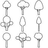 Διανυσματικό σύνολο εικονιδίων δέντρων E Εικονίδια των πράσινων εγκαταστάσεων, απεικονίσεις δασικών δέντρων ελεύθερη απεικόνιση δικαιώματος
