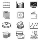 Διανυσματικό σύνολο εικονιδίων και συμβόλων monoweight γραμμικών σε Fintech ελεύθερη απεικόνιση δικαιώματος