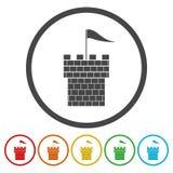 Διανυσματικό σύνολο εικονιδίων λογότυπων του Castle Building Architecture Company απεικόνιση αποθεμάτων