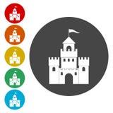Διανυσματικό σύνολο εικονιδίων λογότυπων του Castle Building Architecture Company ελεύθερη απεικόνιση δικαιώματος