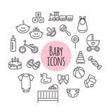 Διανυσματικό σύνολο εικονιδίων μωρών Επίπεδα σημάδια ύφους διανυσματική απεικόνιση