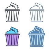 Διανυσματικό σύνολο εικονιδίων περιλήψεων καλαθιών αποβλήτων Σύμβολα γραμμών δοχείων απορριμμάτων Στοκ φωτογραφίες με δικαίωμα ελεύθερης χρήσης