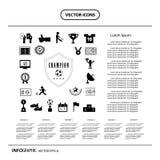 Διανυσματικό σύνολο εικονιδίων ποδοσφαίρου πρωτοπόρων Στοκ Εικόνες