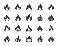 Διανυσματικό σύνολο εικονιδίων σκιαγραφιών πυρκαγιάς μαύρο διανυσματική απεικόνιση