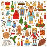 Διανυσματικό σύνολο εικονιδίων Χριστουγέννων doodle Στοκ Εικόνα