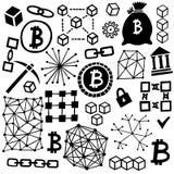 Διανυσματικό σύνολο εικονιδίων Blockchain Σύμβολα Cryptocurrency Στοκ Φωτογραφίες