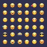 Διανυσματικό σύνολο εικονιδίων Smileys Εικονογράμματα Emoticons Ευτυχής, εύθυμος, τραγούδι, ύπνος, ninja, να φωνάξει, ερωτευμένο  ελεύθερη απεικόνιση δικαιώματος