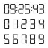 Διανυσματικό σύνολο εικόνας ηλεκτρονικών αριθμών τα ψηφιακά ψηφία ρολογιών γεμίζουν παίρνουν leds ακριβώς σωστά περιττό σε επάνω απεικόνιση αποθεμάτων