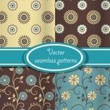 Διανυσματικό σύνολο εκλεκτής ποιότητας floral προτύπων Στοκ εικόνα με δικαίωμα ελεύθερης χρήσης