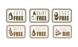 Διανυσματικό σύνολο ελεύθερων ετικετών αλλεργιογόνου δια τα λίπη, το γαλακτοκομείο, τα αυγά και το σίτο Σύμβολα φυσικών προϊόντων ελεύθερη απεικόνιση δικαιώματος