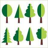 Διανυσματικό σύνολο επίπεδων δέντρων Στοκ φωτογραφία με δικαίωμα ελεύθερης χρήσης