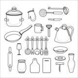 Διανυσματικό σύνολο εργαλείων κουζινών Συλλογή σκευών για την κουζίνα ελεύθερη απεικόνιση δικαιώματος