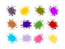Διανυσματικό σύνολο ζωηρόχρωμων παφλασμών χρωμάτων ελεύθερη απεικόνιση δικαιώματος