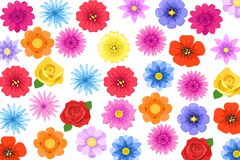 Διανυσματικό σύνολο θερινών λουλουδιών που απομονώνεται στο άσπρο υπόβαθρο ελεύθερη απεικόνιση δικαιώματος