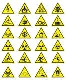Διανυσματικό σύνολο κίτρινων εικονιδίων προειδοποίησης τριγώνων ελεύθερη απεικόνιση δικαιώματος