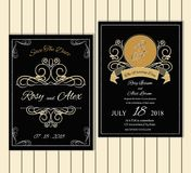Διανυσματικό σύνολο καρτών πρόσκλησης με τη γαμήλια συλλογή στοιχείων Στοκ Εικόνες