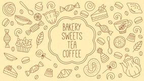 Διανυσματικό σύνολο καταστημάτων τσαγιού γλυκών αρτοποιείων coffe doodles Στοκ Εικόνες