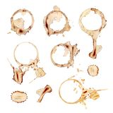 Διανυσματικό σύνολο καφέ Splatters, στοιχεία σχεδίου που απομονώνονται, τυπωμένες ύλες κουπών στοκ εικόνες