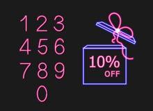 Διανυσματικό σύνολο κιβωτίου δώρων με τις λέξεις τόξων και προσφοράς και τους διαφορετικούς αριθμούς νέου, τα ρόδινα και μπλε φωτ ελεύθερη απεικόνιση δικαιώματος