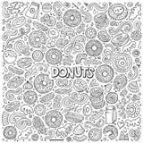 Διανυσματικό σύνολο κινούμενων σχεδίων αντικειμένων και συμβόλων Donuts Στοκ Εικόνες