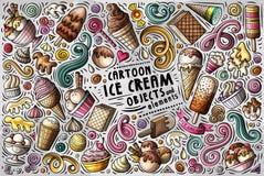 Διανυσματικό σύνολο κινούμενων σχεδίων doodle στοιχείων, αντικειμένων και συμβόλων παγωτού Στοκ Εικόνες