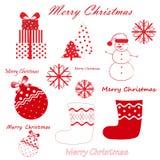 Διανυσματικό σύνολο κόκκινων Χριστουγέννων και νέου έτους simbols που απομονώνονται στο άσπρο υπόβαθρο Στοκ Εικόνα