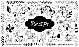 Διανυσματικό σύνολο λουλουδιών doodle μαύρο λευκό ελεύθερη απεικόνιση δικαιώματος