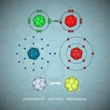 Διανυσματικό σύνολο μορίων ή ατόμων αντιοξειδωτικών και ελεύθερων ριζοσπαστών διανυσματική απεικόνιση