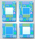 Διανυσματικό σύνολο μπλε αφηρημένου γεωμετρικού, αναδρομικός, πλαίσιο της Μέμφιδας, έμβλημα, ευχετήρια κάρτα των διαφορετικών χρω Στοκ Εικόνες