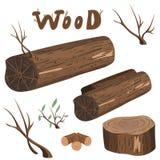 Διανυσματικό σύνολο ξύλινων στοιχείων ελεύθερη απεικόνιση δικαιώματος