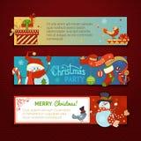 Διανυσματικό σύνολο οριζόντιων εμβλημάτων Χριστουγέννων με τους χαριτωμένους χιονανθρώπους απεικόνιση αποθεμάτων