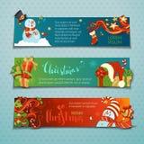 Διανυσματικό σύνολο οριζόντιων εμβλημάτων Χριστουγέννων με τους χαριτωμένους χιονανθρώπους διανυσματική απεικόνιση