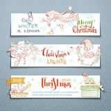 Διανυσματικό σύνολο οριζόντιων εμβλημάτων Χριστουγέννων με τους χαριτωμένους χιονανθρώπους Στοκ Φωτογραφίες