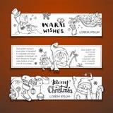 Διανυσματικό σύνολο οριζόντιων εμβλημάτων Χριστουγέννων με τους χιονανθρώπους doodles Στοκ Φωτογραφία