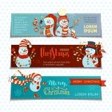 Διανυσματικό σύνολο οριζόντιων εμβλημάτων Χριστουγέννων με τους χαριτωμένους χιονανθρώπους Στοκ φωτογραφία με δικαίωμα ελεύθερης χρήσης