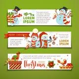 Διανυσματικό σύνολο οριζόντιων εμβλημάτων Χριστουγέννων Στοκ εικόνα με δικαίωμα ελεύθερης χρήσης