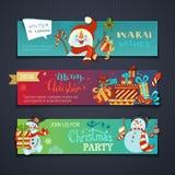 Διανυσματικό σύνολο οριζόντιων εμβλημάτων Χριστουγέννων Στοκ Εικόνες