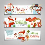 Διανυσματικό σύνολο οριζόντιων εμβλημάτων Χριστουγέννων ελεύθερη απεικόνιση δικαιώματος