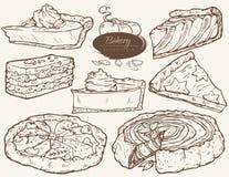 Διανυσματικό σύνολο, πίτα και φέτες με την πλήρωση κολοκύθας απεικόνιση αποθεμάτων