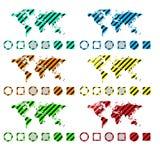 Διανυσματικό σύνολο παγκόσμιου χάρτη του διαφορετικού χρώματος από τις διαγώνιες λουρίδες ελεύθερη απεικόνιση δικαιώματος