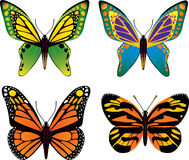 Διανυσματικό σύνολο πεταλούδων Στοκ Φωτογραφίες