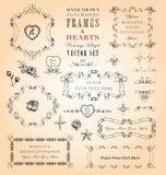 Διανυσματικό σύνολο πλαισίων & καρδιών Στοκ Φωτογραφίες