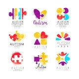 Διανυσματικό σύνολο πολύχρωμου λογότυπου για την ημέρα συνειδητοποίησης αυτισμού Σχέδιο για τις κάρτες, κέντρα wellness, βοήθεια  διανυσματική απεικόνιση