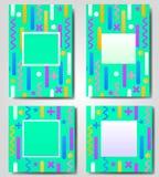 Διανυσματικό σύνολο πράσινου αφηρημένου γεωμετρικού, αναδρομικός, πλαίσιο της Μέμφιδας, έμβλημα, ευχετήρια κάρτα των διαφορετικών Στοκ Εικόνες