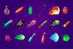 Διανυσματικό σύνολο προτερημάτων κινούμενων σχεδίων για το κινητό παιχνίδι Επικίνδυνες εκρηκτικές ύλες Βόμβες βλημάτων, δυναμίτης ελεύθερη απεικόνιση δικαιώματος
