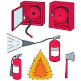 Διανυσματικό σύνολο πυροσβεστήρα διανυσματική απεικόνιση