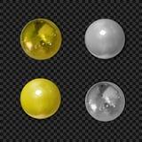 Διανυσματικό σύνολο ρεαλιστικών χρυσών και ασημένιων σφαιρών που απομονώνονται στο Μαύρο ελεύθερη απεικόνιση δικαιώματος