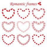 Διανυσματικό σύνολο ρομαντικών πλαισίων απεικόνιση αποθεμάτων